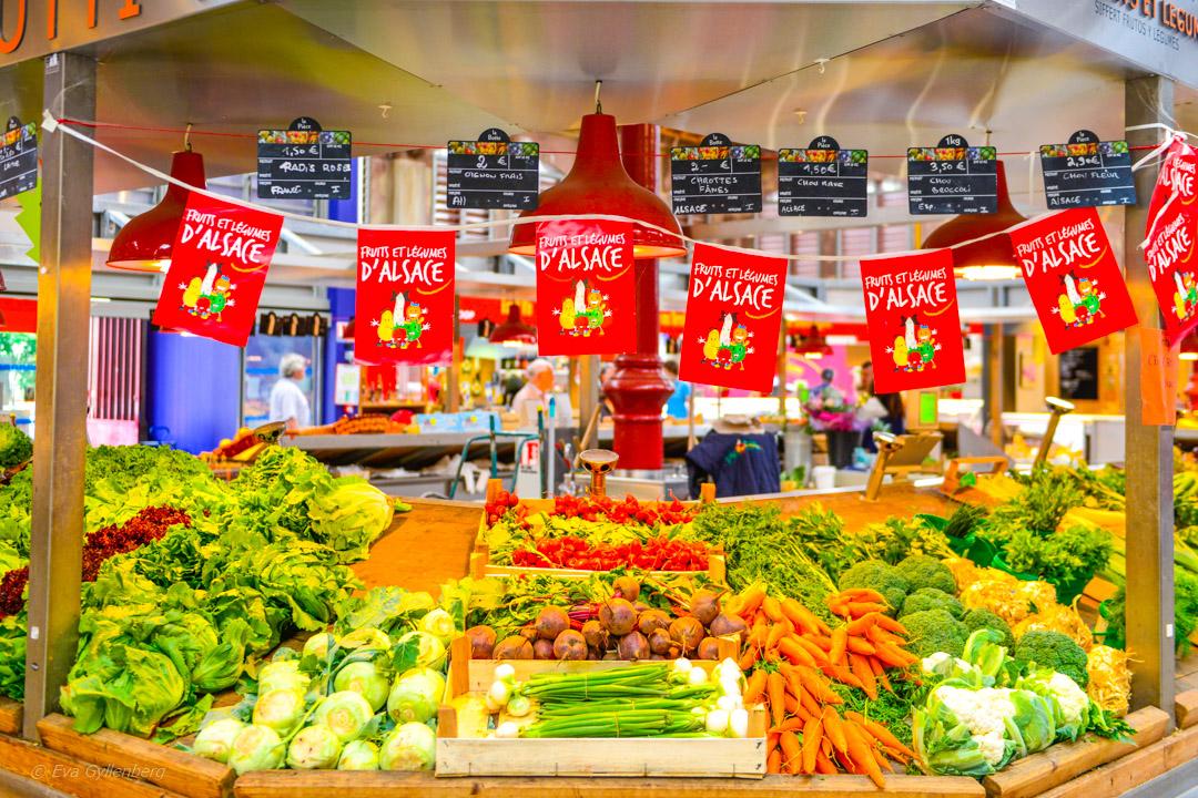 Grönsaksstånd i Alsace