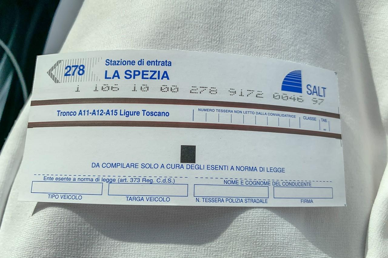 Bila i Italien - Motorvägsbiljett
