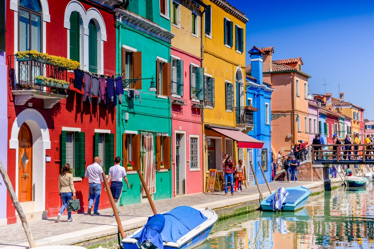 Kanaler i Burano - Venedig - Italien