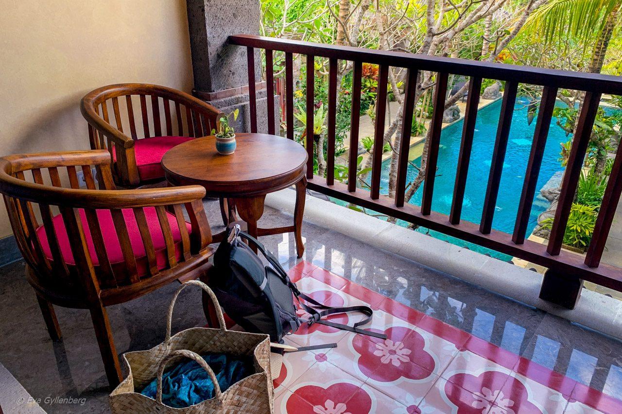 Balkong på vårt rum på Dwaraka Royal Villas