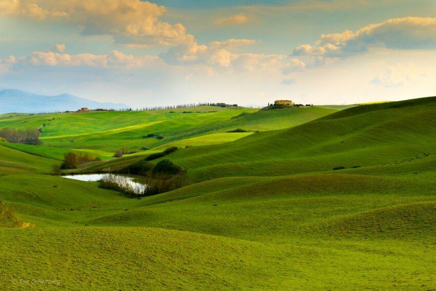 Toscana-Val-d'Orcia- kullar i Italien