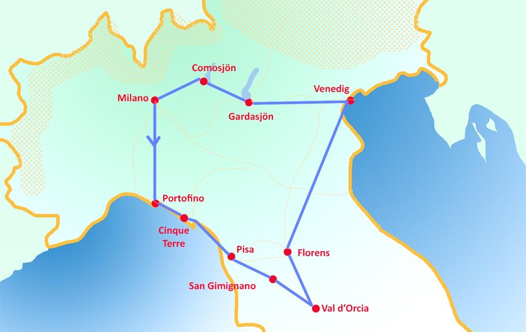 Bila i norra Italien i 14 dagar - dagsplaner och resväg 2