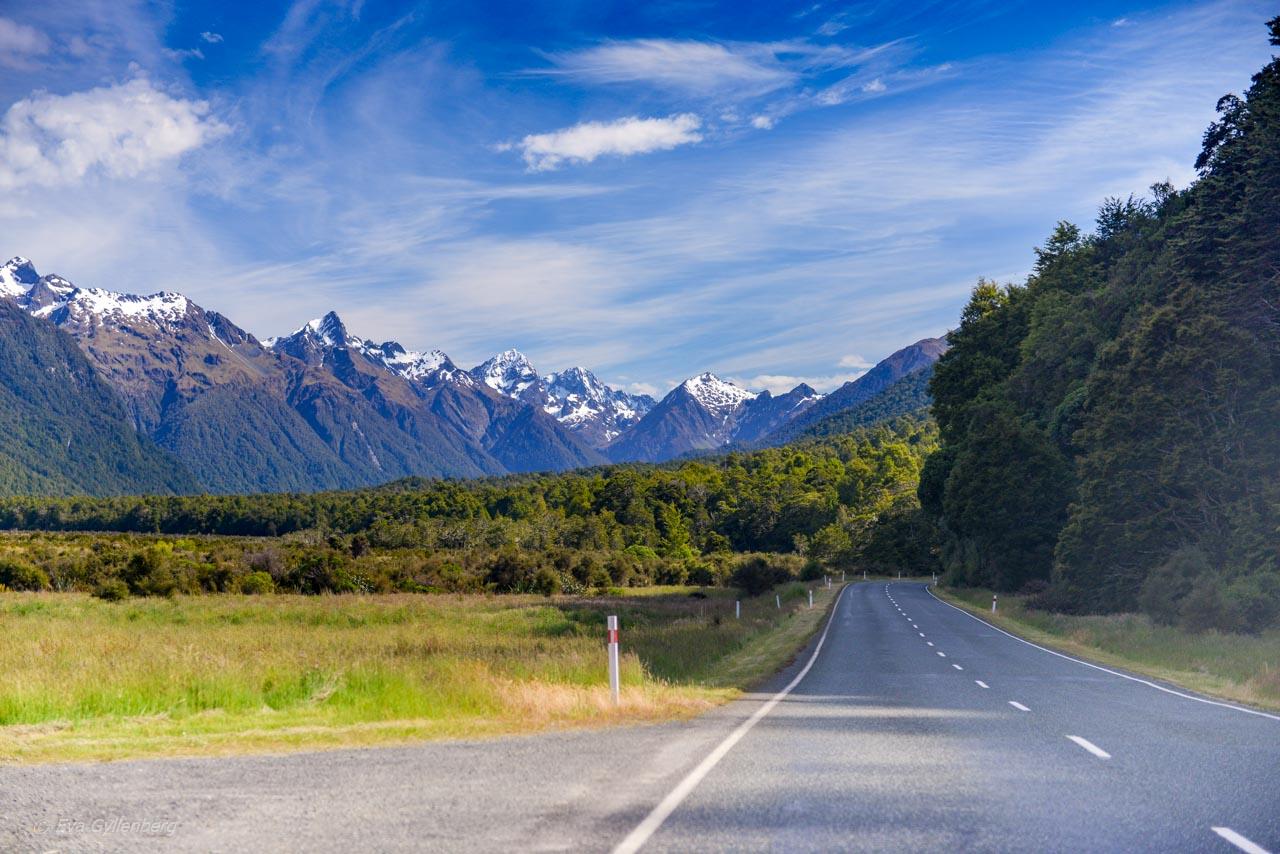 Rak väg vid snöklädda berg på vägen till Milford Sound