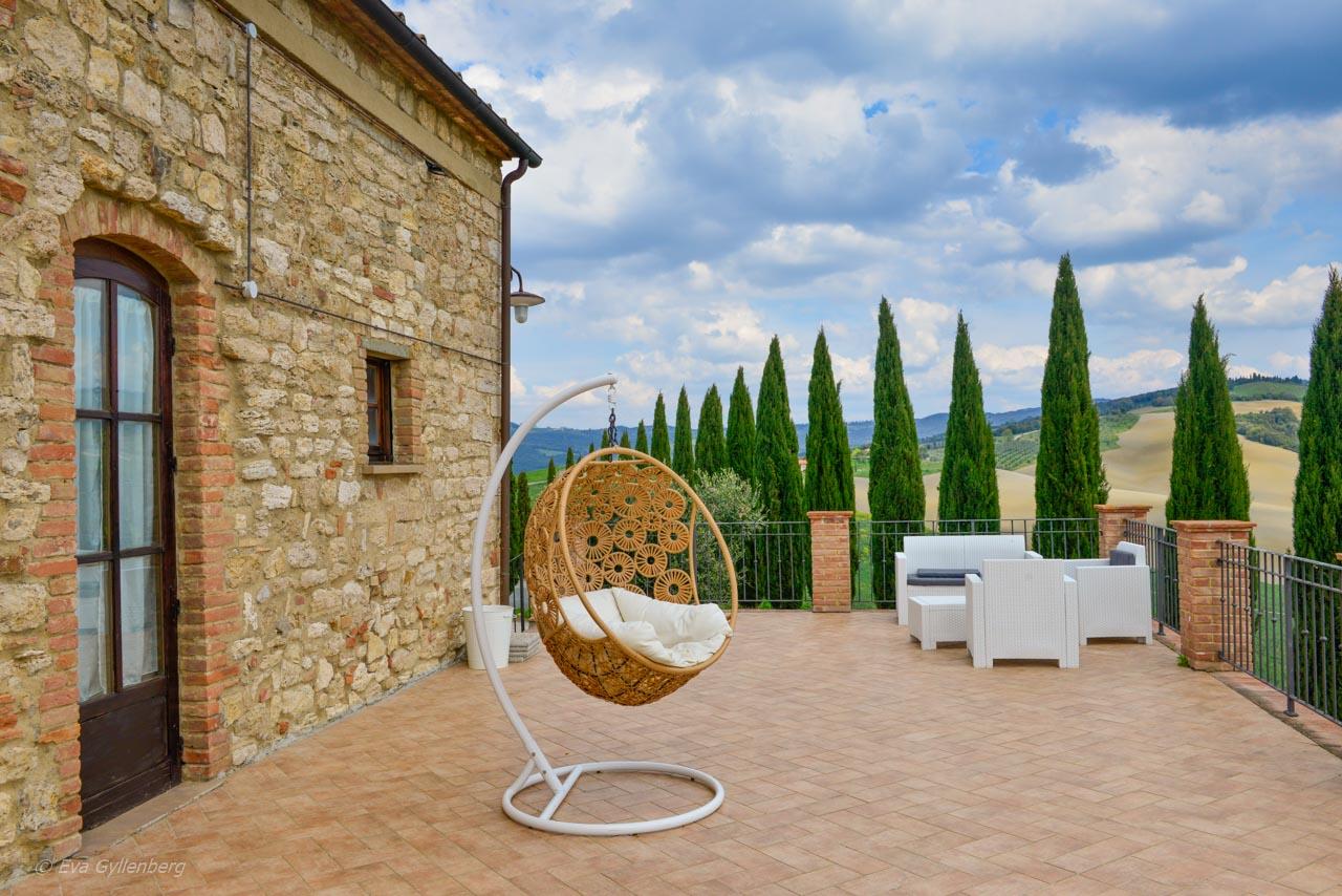 En härlig uteplats i Toscana