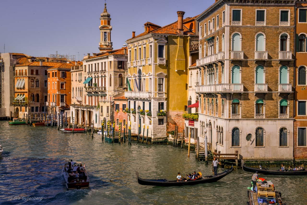 Canal Grandes vackra hus i Venedig