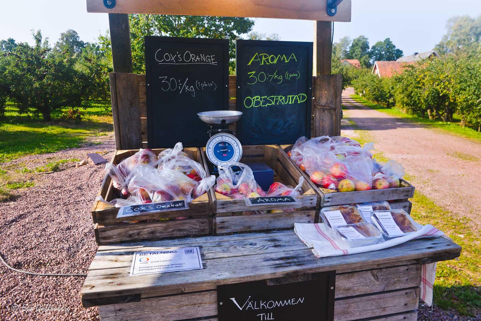 Äppelförsäljning vid vägen