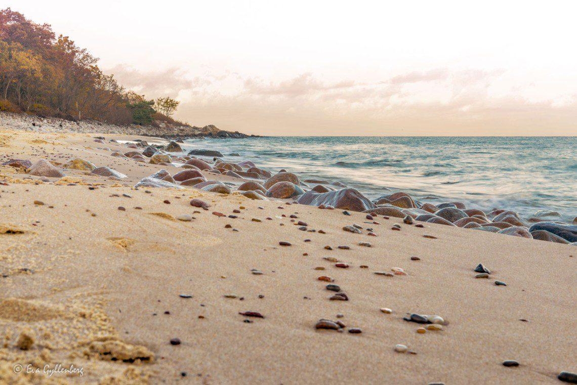 Stenar på stranden vid Stenshuvud