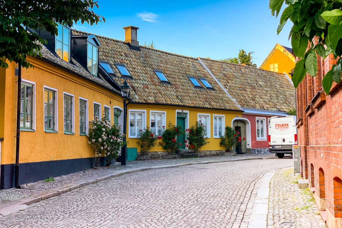 Fina pastellfärgade hus i Gamla Lund