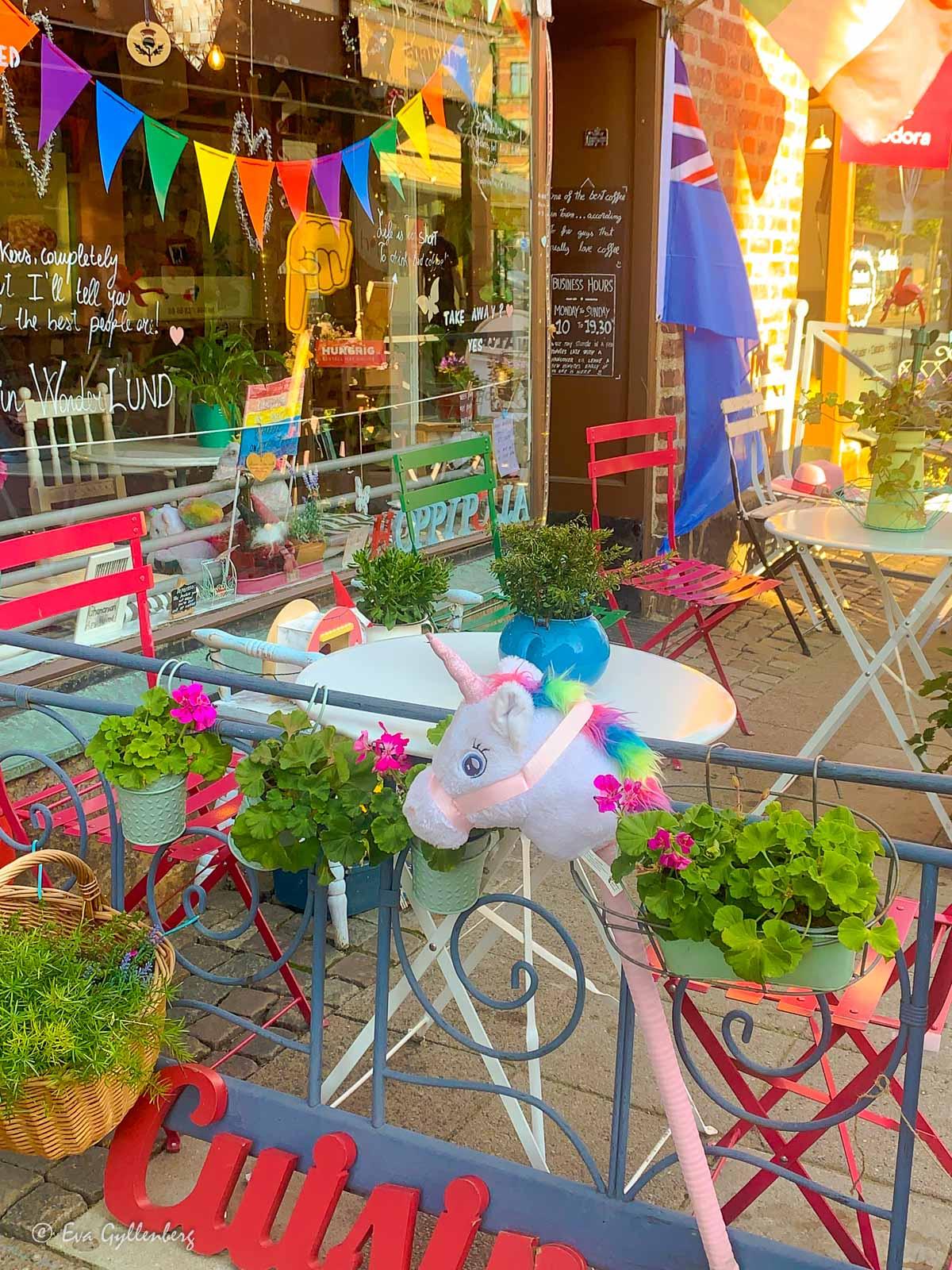 Färgglatt café i Lunds centrum