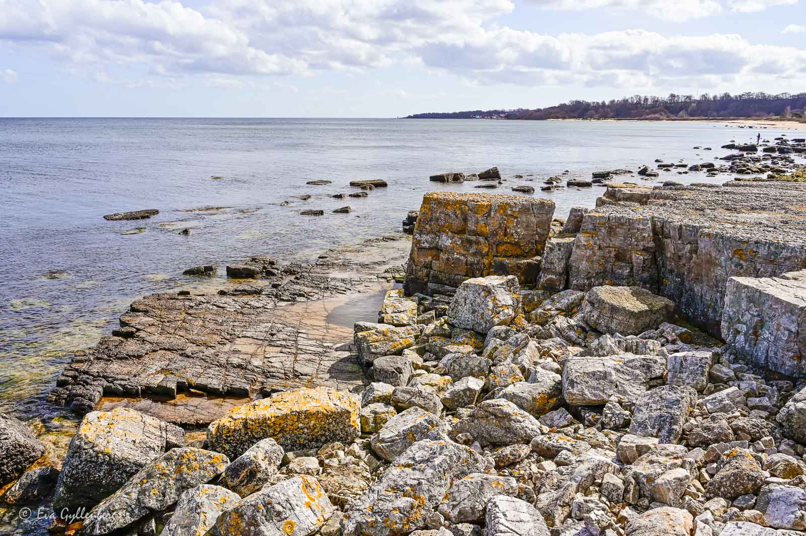 Klippor och klart hav vid Vik