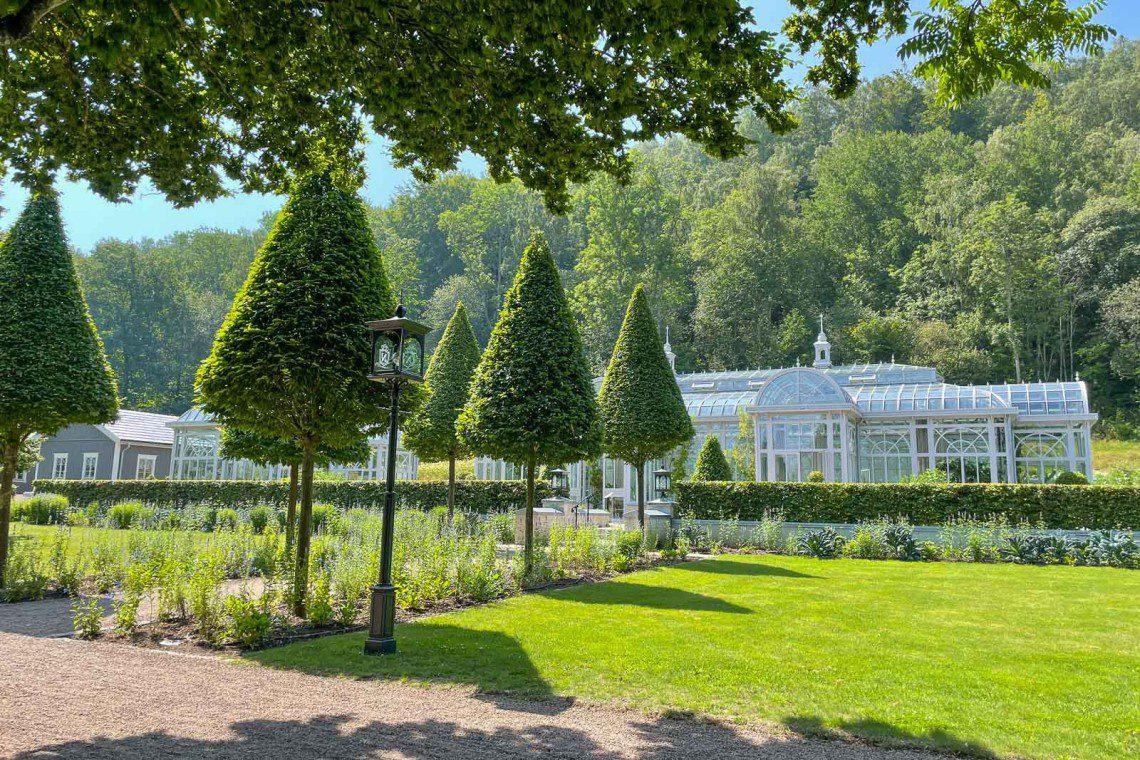 Konformade träd i en gång framför ett växthus